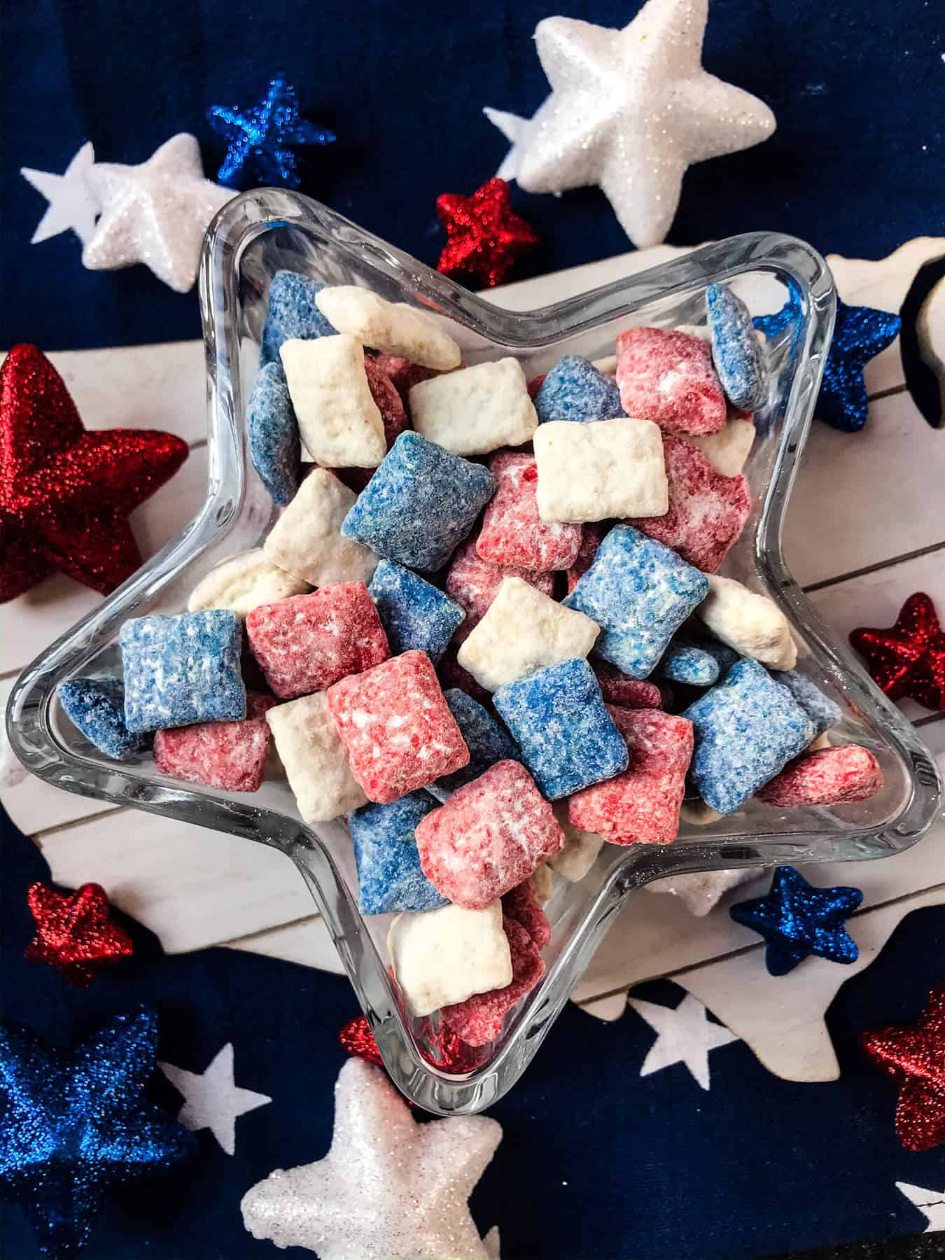 Patriotic Red White And Blue Puppy Chow Three Olives
