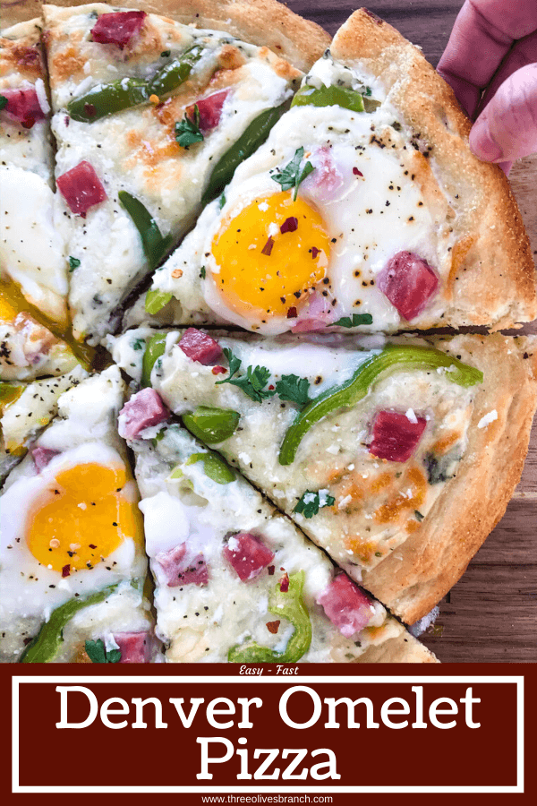 This Denver Omelet Pizza is ready in just 30 minutes using Fleischmann's® RapidRise® Yeast, topped with a white sauce, ham, green bell peppers, and eggs. #HomemadePizzaCrust #homemadepizza