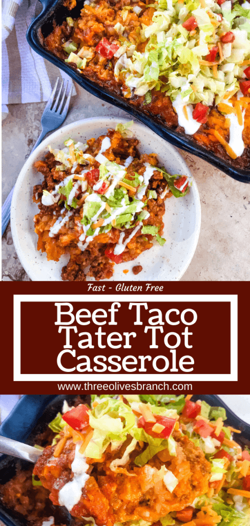 Beef Taco Tater Tot Casserole is a cheesy beef casserole seasoned like tacos with cheddar cheese and potato tater tots. Topped with all the taco toppings. An easy dinner idea for busy nights for the family. #beefcasserole #beeftacos #hamburgercasserole