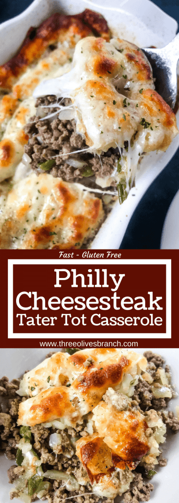 Philly Cheesesteak Tater Tot Casserole is a cheesy beef casserole recipe mixed with onion, green bell pepper, provolone cheese, and potato tater tots. An easy dinner idea for busy nights for the family. #beefcasserole #cheesesteak #hamburgercasserole