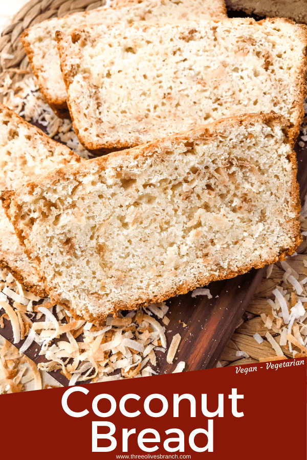 This Quick Coconut Bread recipe is easy to make and vegan! Full of coconut milk, coconut oil, and toasted shredded coconut. #veganbread #coconut #quickbread