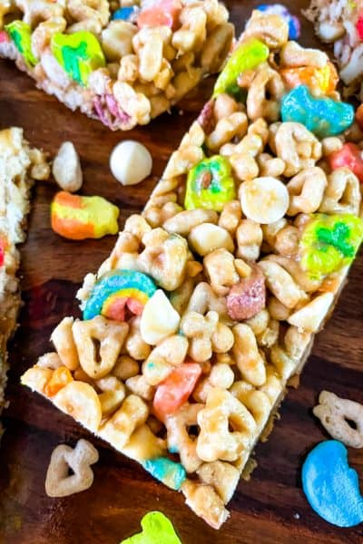 A close up of a Lucky Charms Cereal Bar