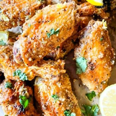A pile of Lemon Pepper Chicken Wings Air Fryer wings