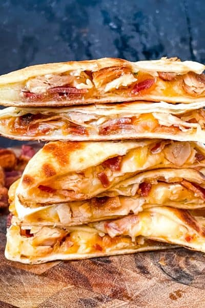 Quesadilla pieces stacked on top of each other