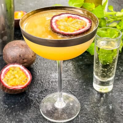 A coupe glass of the passion fruit cocktail