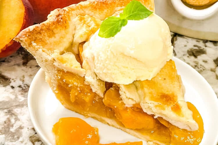 Pie with ice cream on a plate