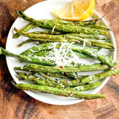 All three Air Fryer Green Beans on a small plate